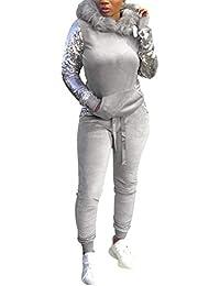 Survêtement Femmes Doux Jogging Suit Confortable Velours Sequin 2 Piece  Tenues Pull À Capuche avec Peluche f79283e4a2b