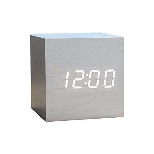 MUTANG Holz Wecker Digital LED Licht Minimalistischen Mini Cube Clock mit Datum und Temperatur Schwarz, weiß