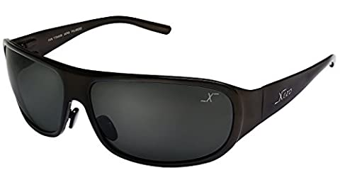 Xezo UV 400 Base Curve 8, Solid Titanium Polarized Men's Sunglasses with Black Lens, Coffee Metallic finish, 1.7 oz. Large