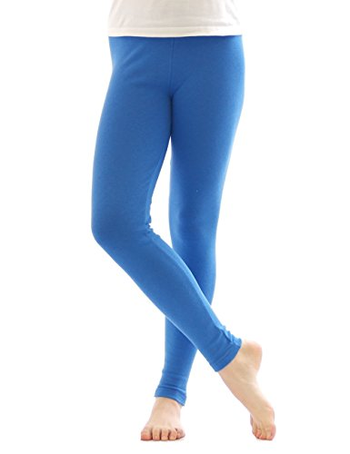 Thermo Leggings leggins Hose lang aus Baumwolle Fleece warm dick weich blau L (Baumwolle Leggings Thermo)