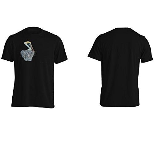 Nuovo Uccello Arte Marrone Pelican Uomo T-shirt m344m Black