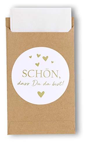 havalime 100 Geschenktüten mit Schön, DASS Du da bist - Sticker, Vintage Kraftpapier Aufkleber Mini Papiertüten Taschentücher Zur Hochzeit Geschenk-Verpackung Schmuck
