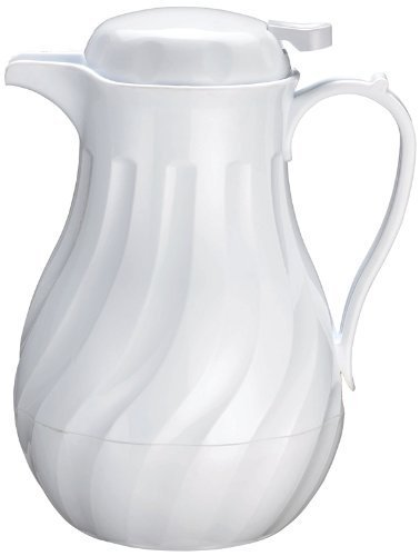 Winco Push Button Insulated Beverage Server with Swirl Design, 64-Ounce, White - Set of 3 by Winco - Push-button-server