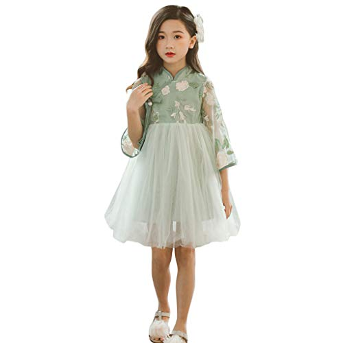 Livoral Baby Madchen Kleidung Set Jugendlich-Kind-Baby-ärmellose Spitze gesticktes Granatapfel-rotes Weinlese-Kleid(Grün,110)