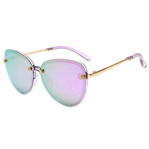 WYJW Frau polarisierte Sonnenbrille ForWomens Classic Uv400 Schutz Vintage Shades übergroße rahmenlose Diamant-weibliche Damen-Sonnenbrille