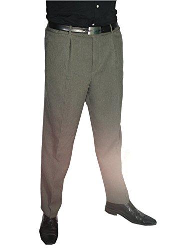 Mens Fashion feine Herren Anzugshose Hose mit Bundfalte, normale und untersetzte Größen, in versch. Farben Grau/Khaki