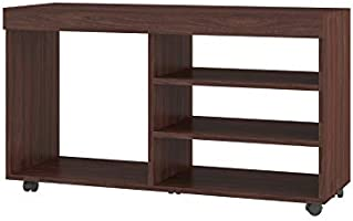 Brv Moveis TV Table with Four Shelves and Wheels for 42 in ch TV - Brown (H 51.5 cm X W 90 cm X D 29.5 cm)