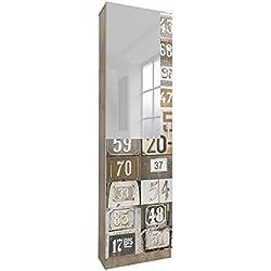 Miroytengo Zapatero Alto con Espejo 1 Puerta Varillas en Interior Acabado Decorado Numbers 180x50x20 cm