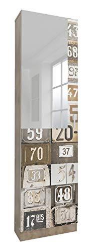 Miroytengo Zapatero Alto con Espejo 1 Puerta Varillas en Interior Acabado Decorado Numbers 180x50x20...