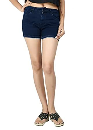 FCK-3's Stretchable Silky Denim Shorts for Women-28