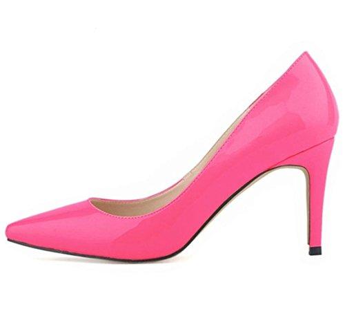 Donne Pumps alti talloni di modo punta aguzza Scarpe Tacchi assottiglia le pompe 10cm scarpe con tacchi rosso della donna 3