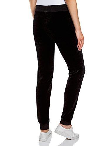 oodji Ultra Femme Pantalon de Sport avec Cordon de Serrage Noir (2900N)