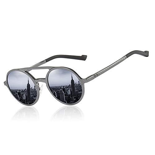 Honneury Herren Vintage Runde Mode Sonnenbrillen, polarisierte Al-Mg-Gläser, Sonnenbrille Fahren (Farbe : Schwarz)