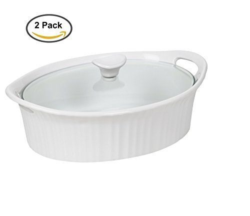 Corningware 1105935 French White III Oval Casserole with Glass Cover, 2.5-Quart by CorningWare Casserole Cover