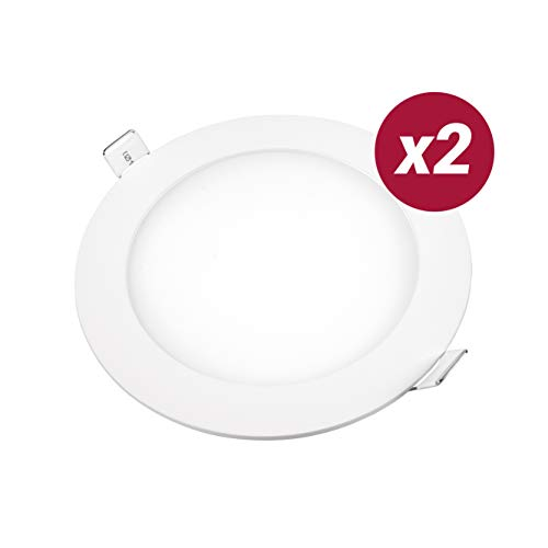 POPP- (Pack x 2 )downlight led Placa LED redondo.9W,luz calida,chip OSRAM (4000K,...