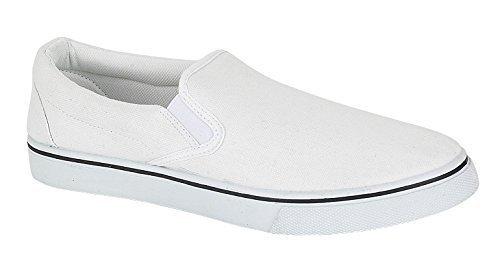 Lora Dora , Herren Espadrilles  Weiß Slip On - White, 44 EU / 10 UK (Sneakers Einfache Klassische)
