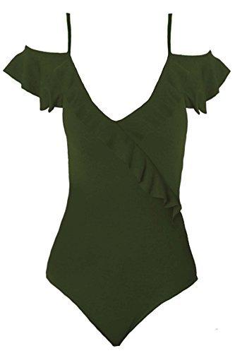 FANTASIA BOUTIQUE Damen Offene Schulter Cami Krepp Dünne Träger Rüschen Strukturiert Bodysuit Leotard Khaki