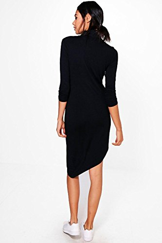 Kaki Femme Alaina High Neck Asymmetric Shift Dress Kaki