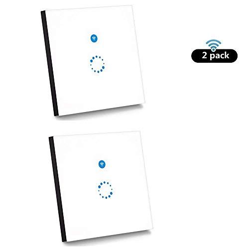 2 Stück Sonoff Touch Schalter( Kompatibel mit Alexa [Echo, Echo Dot] und Google Home ) 1-Weg Touchscreen Lichtschalte Wasserdichter Wandschalter Touch Panel Schalter - weiß(Neutralleiter Benötigt) (Installieren Lichtschalter Dimmer)