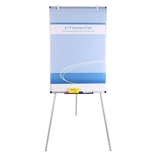 VIZ-PRO Chevalet de conférence - Tableau Blanc Effaçable & Magnétique - Réglable en hauteur & usage flexible, 90 x 60 cm