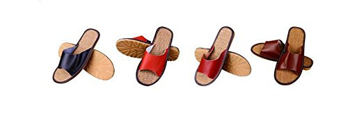 TELLW Solid Couleur Velours Corail Épaississement Chaud Plancher en Bois Pantoufles DHiver et en Plein Air Coton-Aimant les Femmes et les Pantoufles des Hommes hommes rouge foncé