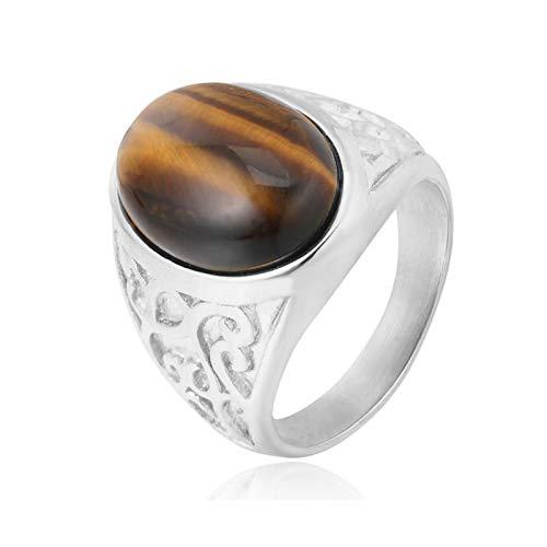 KnBoB Herren Ringe Retro Totem Keltisch Edelstein-Ringe Silber mit Achat Zirkonia Edelstahl Ringe Gr.60 (19.1)