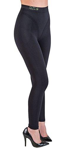 Cizeta Srl CzSalus Figurformende Anti-Cellulite Lange Hose (Leggings) mit Aloe+grüner Tee - schwarz Größe XXL