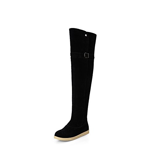 AgooLar Damen Ziehen auf Hoher Absatz Eingelegt Hoch-Spitze Stiefel mit Metalldekoration, Weiß, 37