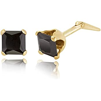 9ct White Gold Cubic 4mm Square Zirconia Stud Earrings Hand MADE IN UK Free Box