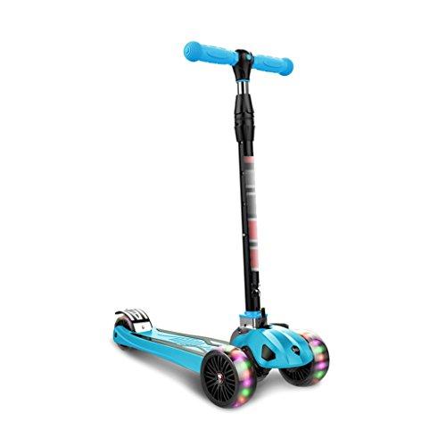 Flash-Roller für Kinder eine Sekunde Falten einstellbare Vier-Stufen-Höhe empfohlene Höhe 80-155cm Skateboarding (Color : Blue) -