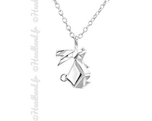 Hedea Halskette Anhänger Origami Hase, Sterling-Silber 925
