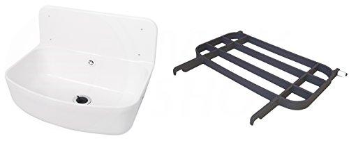 Preisvergleich Produktbild Waschbecken Ausgussbecken für draußen optional mit Gitter in grau Keller Garage Garten Waschküche