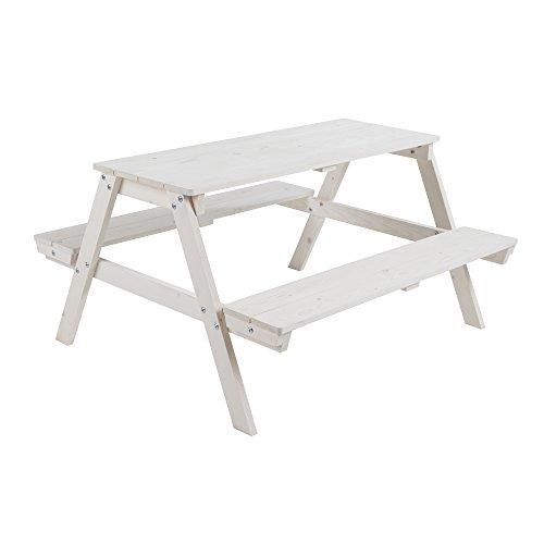 roba Kinder Outdoor Sitzgruppe 'Picknick for 4', Sitzgarnitur mit 2 Bänken und 1 Tisch aus Holz für drinnen und draußen, wetterfest, weiß lasiert
