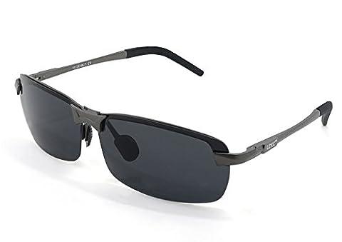 LZXC Herren Polarisiert Sonnenbrille Fahrerbrille Federscharnier AL-MG
