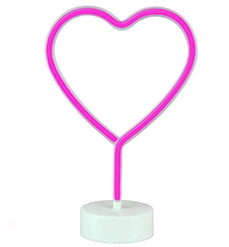AIZESI Neon Herz LED Lampe Herz Wanddeko Amor Cupid Lamp Dekor Halter Neon Lichter,Batterie USB-Powered Lampen für Kinderzimmer Dekorationen Geburtstag Party,Wohnzimmer,Hochzeit Party(Pink Heart USB)