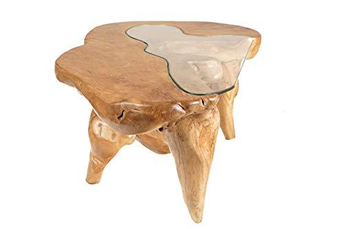Mesa de centro rústica madera maciza de raíz de árbol con Tablero de Cristal