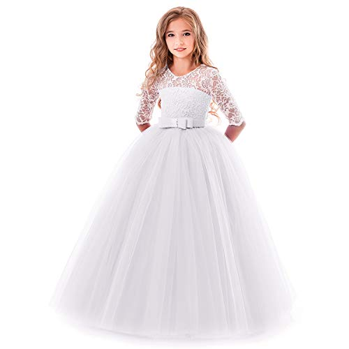 dchen Kleider Blumenspitze Kurze Ärmel Elegante Ballkleid Cocktailkleid 3-4 Jahre Weiß ()