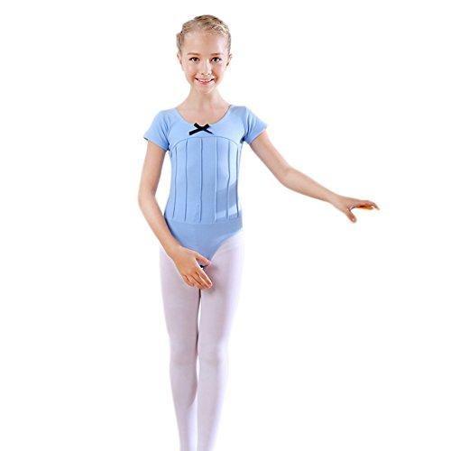 Minuya Kinder Mädchen Tanz-Bekleidung Kurzarm Tanz-Body Ballett Trikot Gymnastik Leotard Tops Training Dancewear