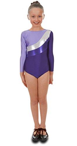 Deluxe Lila Sleeve Gymnastik Mädchen Trikotanzug mit Silber Streifen (11-12 (Für Tanz Tippen Kostüme Mädchen)