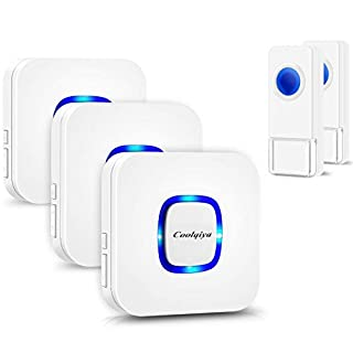Coolqiya Wireless Doorbell Chimes with 2 Remote Waterproof Door Bell Buttons and 3 Plugin Receivers, Operating up to 1000 Feet Range, No Battery Required for Receiver, White