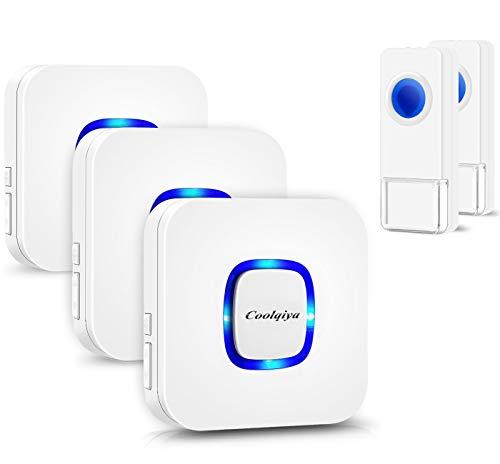 black EdBerk74 Self-powered Wireless Doorbell Smart Cordless Door Bell NO Charging Waterproof 300M 38 Melodies for Warehouses Home Office-
