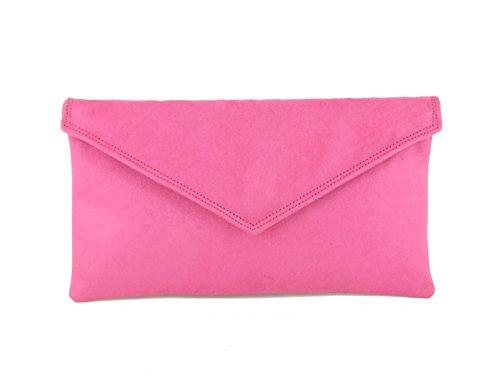 Loni Neat Umschlag Faux Wildleder Clutch Bag/Schultertasche in schwarz Rosen-Rosa