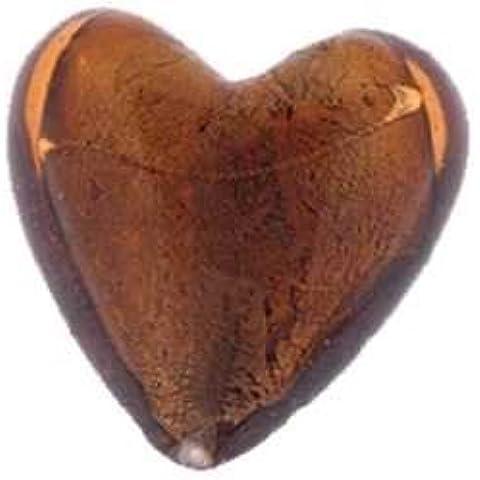 Perle di vetro silver foil, gioielli fai da te, CA 35 pcs. A forma di cuore, 12 mm, 85 braun
