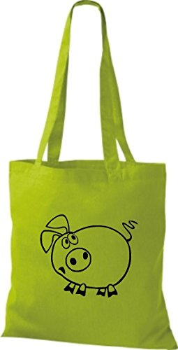 Shirtstown Stoffbeutel Tiere Schwein Sau Ferkel Lime