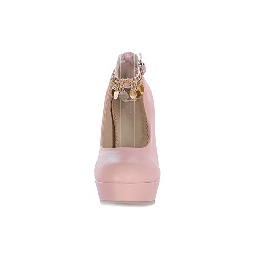 VogueZone009 Damen Rein Pu Leder Stiletto Rund Zehe Schnalle Pumps Schuhe Pink