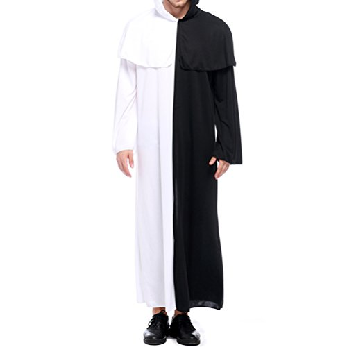 Parade Kostüm Black (Zhhlinyuan Stufe Kleid Mens Unisex Cosplay Halloween Costumes Black And White Gown Stage Party Performance Hooded Robe)