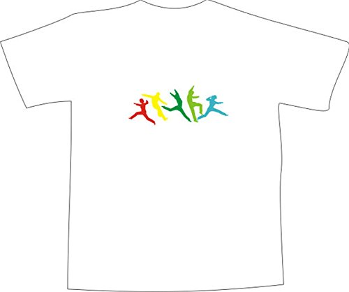 T-Shirt E085 Schönes T-Shirt mit farbigem Brustaufdruck - Logo / Comic - bunte Sportler / Parkour Weiß