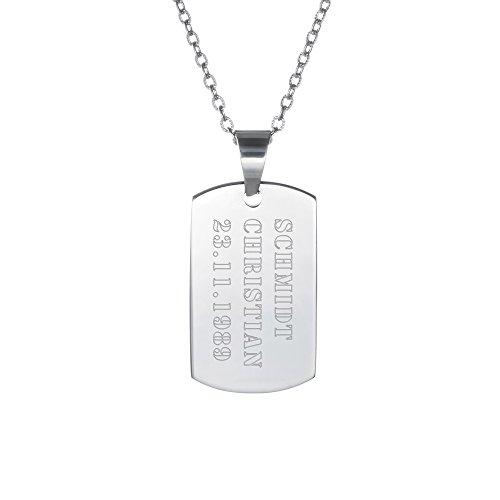 Gravado - Chaîne avec Pendentif en INOX - Gravure Dog Tag Militaire - Personnalisé avec [NOM PRÉNOM Date d'anniversaire] - Plaque d'identité gravée - Écriture en majuscules -Cadeau Bijou pour Hommes