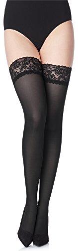 Merry Style Damen halterlose Mikrofaser 40 DEN Strümpfe mit Spitze MS 791 (Schwarz-791, XL/XXL (46-50)) (Leichte Knie-hohe Socken)