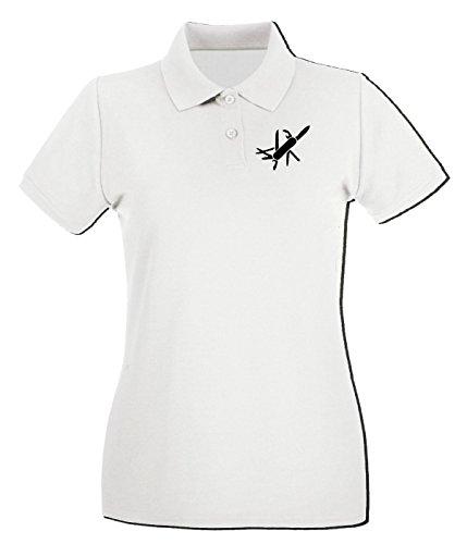 T-Shirtshock - Polo pour femme TM0491 coltellino svizzero Blanc